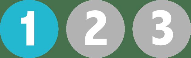 symboler för steg 1-2-3